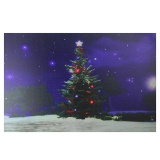 "Fiber Optic and LED Lighted Color Changing Christmas Tree Canvas Wall Art 23.5"" x 15.5"""