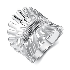 White Gold Plated Leaf Branch Curved Ring