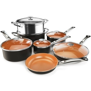 Costway 12 Piece Nonstick Cookware Set Copper Pots Pans Set - as picture shows