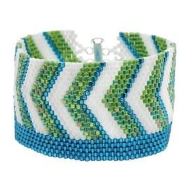 Chevron Striped Peyote Bracelet (Blue/Grn) - Exclusive Beadaholique Jewelry Kit