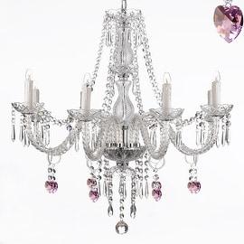 Pink Heart Crystal Chandelier Lighting 8 Light Fixture