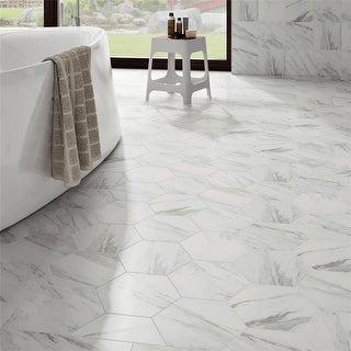 SomerTile 8.625x9.875-inch Marmol Carrara Hex Porcelain Floor and Wall Tile (25 tiles/11.56 sqft.)