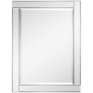 """Beveled Rectangle Wall Mirror,Solid Wood Frame,1""""-Beveled Center, Bathroom,Bedroom,Living Room,Ready to Hang - Clear"""