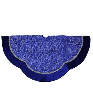 """48"""" Royal Blue and Silver Swirl Christmas Tree Skirt with Scalloped Trim"""