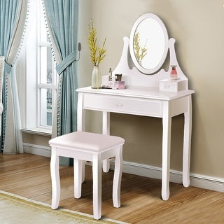 Gymax Bedroom Wooden Mirrored Makeup Vanity Set Stool Table Set White