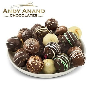 Andy Anand Truffles Delectable Variety of 32 Handmade Artisan Truffles Gift Boxed & Greeting Card