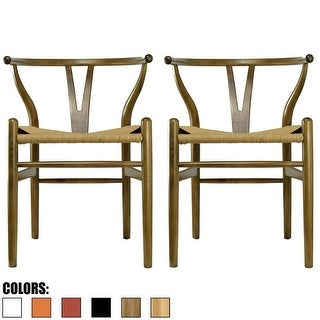 2xhome Set of 2 Walnut Modern Wood Dining Chair with Back Arm Armchair Hemp Seat For Home Restaurant Office Kitchen