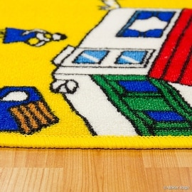 "Allstar Kids / Baby Room Area Rug. Zoo. Animals. Zebra. Monkey. Lions. Bright Colorfun Vibrant Colors (3' 3"" x 4' 10"")"
