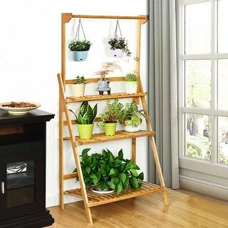Costway 3 Tier Bamboo Hanging Folding Plant Shelf Stand Flower Pot