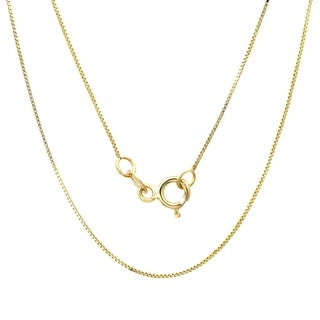 14k Yellow Gold Box Chain Necklace (14-30 Inch)