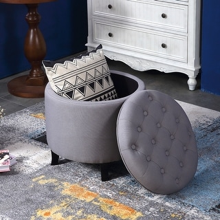 Belleze Round Tufted Storage Ottoman Footrest Coffee Table Lift Top