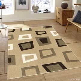 "Allstar Brown / Beige Modern Geometric square design Area Rug (5' 2"" x 7' 2"")"