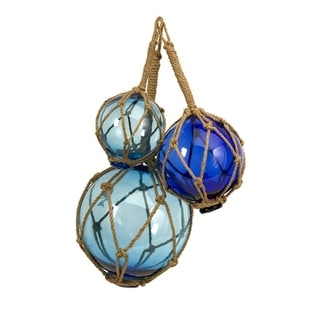 Set of 3 Soothing Blue Nautical Glass Ball Fishing Floats