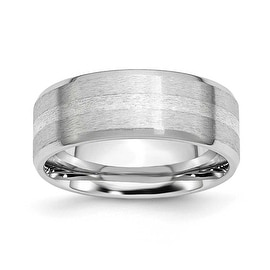 Chisel Cobalt Chromium Sterling Silver Inlay Satin/Polish 8mm Band