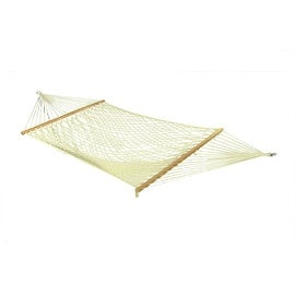Sunnydaze Cotton Single Wide Rope Hammock with Wood Spreader Bars