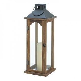 2 Tall Simple Metal Top Wooden Lanterns