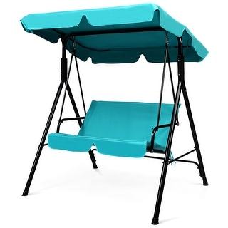 Costway Loveseat Patio Canopy Swing Glider Hammock Cushioned Blue - See Description
