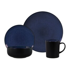Gibson Novabella 16 Piece Reactive Dinnerware Set: Cobalt Dishes, Bowls and Mugs