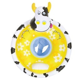 """31.5"""" Black White and Yellow Cow Children's Inflatable Swimming Pool Baby Seat Float"""