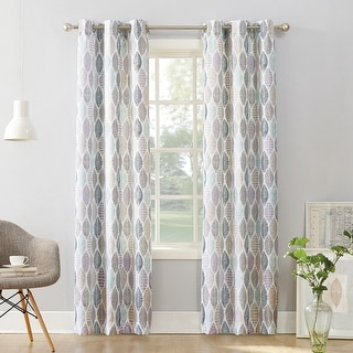 No. 918 Hotaru Leaf Print Semi-Sheer Grommet Curtain Panel