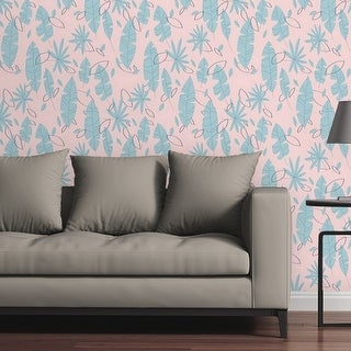 Circle Art Group Removable Wallpaper Tile - Flat Palms Blue