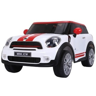 Costway White Electric MINI PACEMAN Kids Ride On Car Licensed R/C