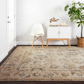"""Alexander Home Distressed Persian Rustic French Country Mosaic Area Rug - 6'7"""" x 9'4"""""""
