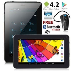 """Indigi® 7.0"""" Dual-Core 2-in-1 SmartPhone + TabletPC w/ Android 4.2 JellyBean Dual-Cameras + WiFi + Bluetooth Earphone Included"""