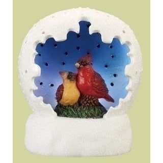 "4"" White and Blue Led Lighted Cardinal Pair Table Top Christmas Dome"