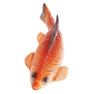 """Art & Artifact Floating Koi Fish - Realistic Orange/Gold Polyresin Outdoor Pond Pool Decor, 11"""" L - 2.5 in. x 2.5 in. x 11 in."""