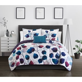 Chic Home 4 Piece Megaera Floral Quilt Set