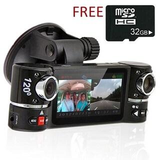 "Indigi® F600 Car DVR DashCam w/ Rotating Cameras (Front+Rear) Driving Recorder with 2.7"" LCD w/ IR Nightvision & 32gb microSD"