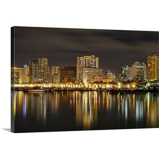 """Manila Bay at night"" Canvas Wall Art"