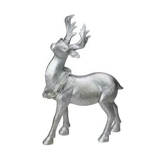 """10.5"""" Elegant Silver Christmas Table Top Reindeer Figure"""