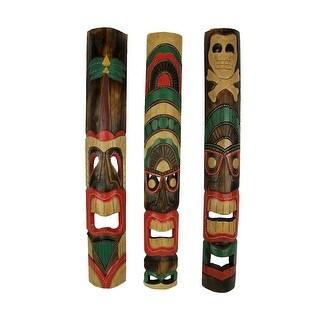 Set of 3 Hand Carved 39 Inch Tall Island Style Polynesian Tiki Masks
