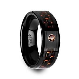 HELSING Black Ceramic Ring with Black and Orange Carbon Fiber and Orange Padparadscha Setting
