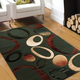 "AllStar Rugs Teal Carved Circles Modern Geometric Area Rug (7' 9"" x 10' 5"")"