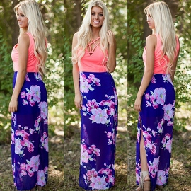 Women's Sleeveless Floral Printed Tank Maxi Dress