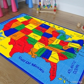 "Allstar Kids / Baby Room Area Rug. USA Map. Fifty States. Bright Colorful Vibrant Colors (3' 3"" x 4' 10"")"