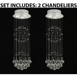 Modern Contemporary Empress Crystal *Rain Drop* Lighting With Crystal Balls H31 x W10 *Set Of 2*