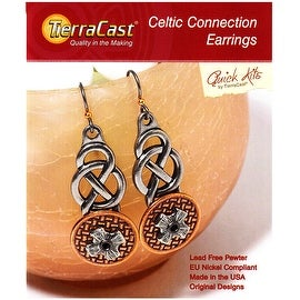 TierraCast Lead-Free Pewter Earring Kit, Celtic Connection Earrings 1 Kit, Antiqued Pewter and Copper