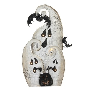 "14"" Black and White Battery Operated LED Lighted Ghosts Halloween Decor"