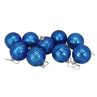 "9ct Peacock Blue Mirrored Glass Disco Christmas Ball Ornaments 2.5"" (60mm)"