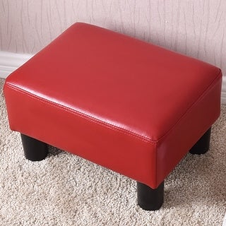 Costway Small Ottoman Footrest PU Leather Footstool Rectangular Seat