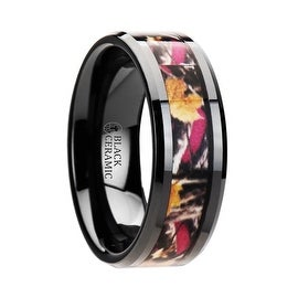 LAUREL Realistc Tree Camo Black Ceramic Wedding Band with Real Pink Oak Leaves
