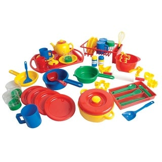 Dantoy Play Kitchen Dishes Pack, 4 Settings, Assorted Colors, 55 Pieces