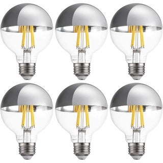 G25 Half Chrome Light Bulb, 7W Dimmable LED, 6 Pack - Warm White