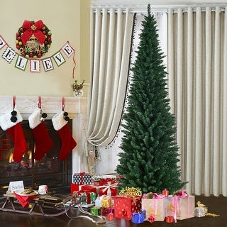 Costway 9Ft PVC Artificial Pencil Christmas Tree Slim w/ Stand Home Holiday Decor Green