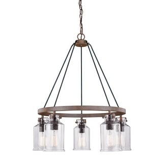 Carbon Loft Visage 5-light Rustic Bronze Chandelier with Jar Glass and Edison Bulbs - 26-in W x 30-in H x 26-in D