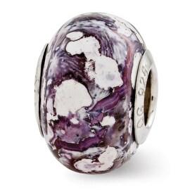 Italian Sterling Silver Reflections Purple/White Ceramic Bead (4mm Diameter Hole)